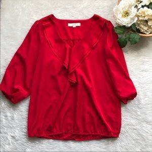 Loft Red 3/4 Sleeve Blouse